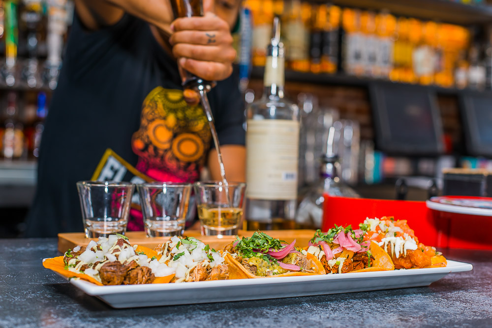 Taco and Tequila Flight at El Chingon